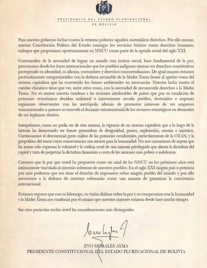 Carta del Presidente Evo Morales al Secretario General de Naciones Unidas