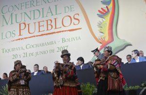 20 junio 2017, Tiquipaya, Cochabamba.- El presidente Evo Morales inaugura la Conferencia Mundial de los pueblos por un Mundo Sin Muros. (Fotos: Freddy Zarco)